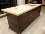 Gloss Ivory Kitchen with Gloss Walnut Island - design and installation by Barrett Kitchens, County Donegal, Ireland