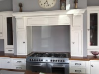 Cream hand-painted in frame kitchen showing hob unit - designed and fitted by Barrett Kitchens, County Donegal, Ireland